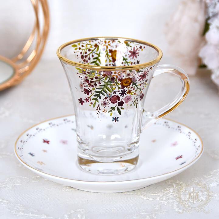 フラワーバタフライ柄ガラスカップ&ソーサー