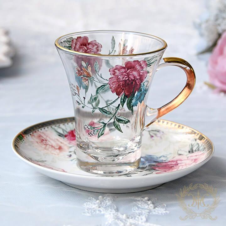 フラワーピオニー柄ガラスカップ&ソーサー