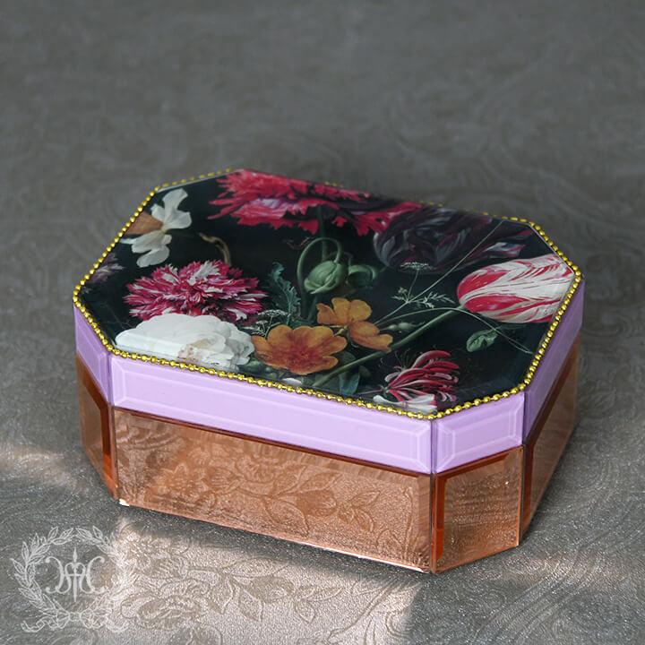 フラワーデコガラスジュエリーボックス