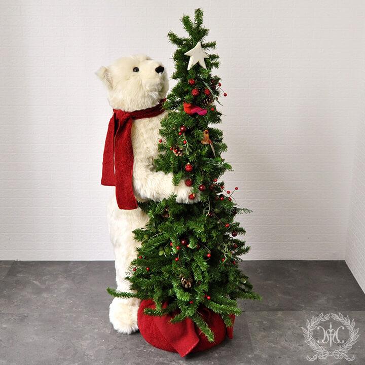 DITZ白くまクリスマスツリー110cm