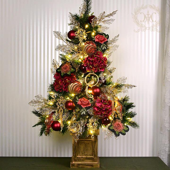 クリスマスツリーセット120cm/ブルーミングレッドローズ
